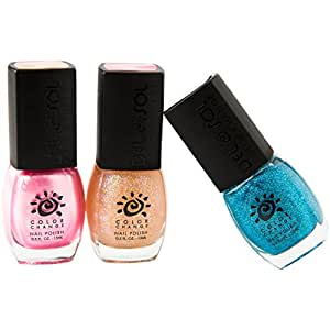 Del Sol Color Changing Nail Polish: Trio of High Quality, Nail Lacquer that Adjusts Hue in the Sun! (I Believe In Pink/Glitz & Glam/Sweet 16)