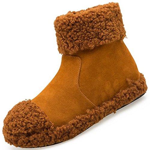 exterior HSXZ Zapatos Negro Null Toe Marrón planas de botas Confort PU caqui Black mujer Calf botas Round invierno Mid para 1qpwqA
