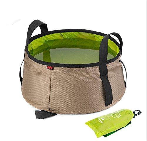 Doutless Bay Lightweight Portable Outdoor Folding Wash Basin Water Bag Wash Bucket (Khaki+green) (Gazebo Car Wash)