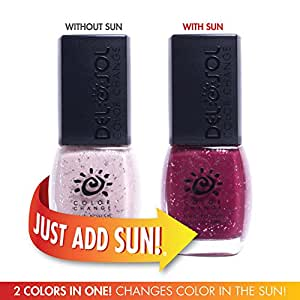 Del Sol Color Changing Nail Polish, Quick Dry Lacquer that Changes Hue in the Sun! 0.5 ounce (15ML) Full Size Bottle (Barely There - Pink to Magenta Glitter)