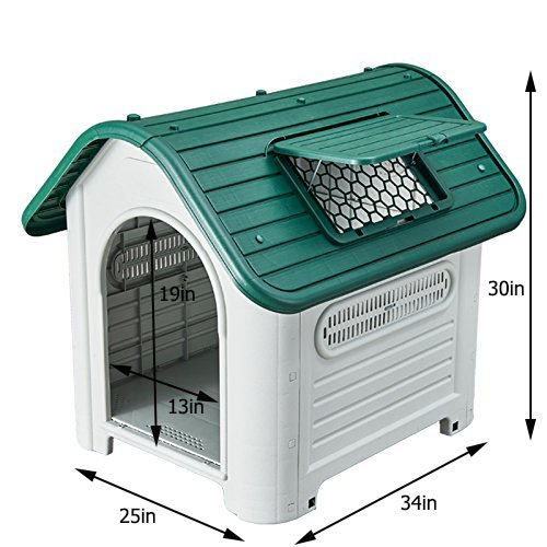 pengchen Pet Waterproof Plastic Dog Kennel Outdoor House (35, Green)