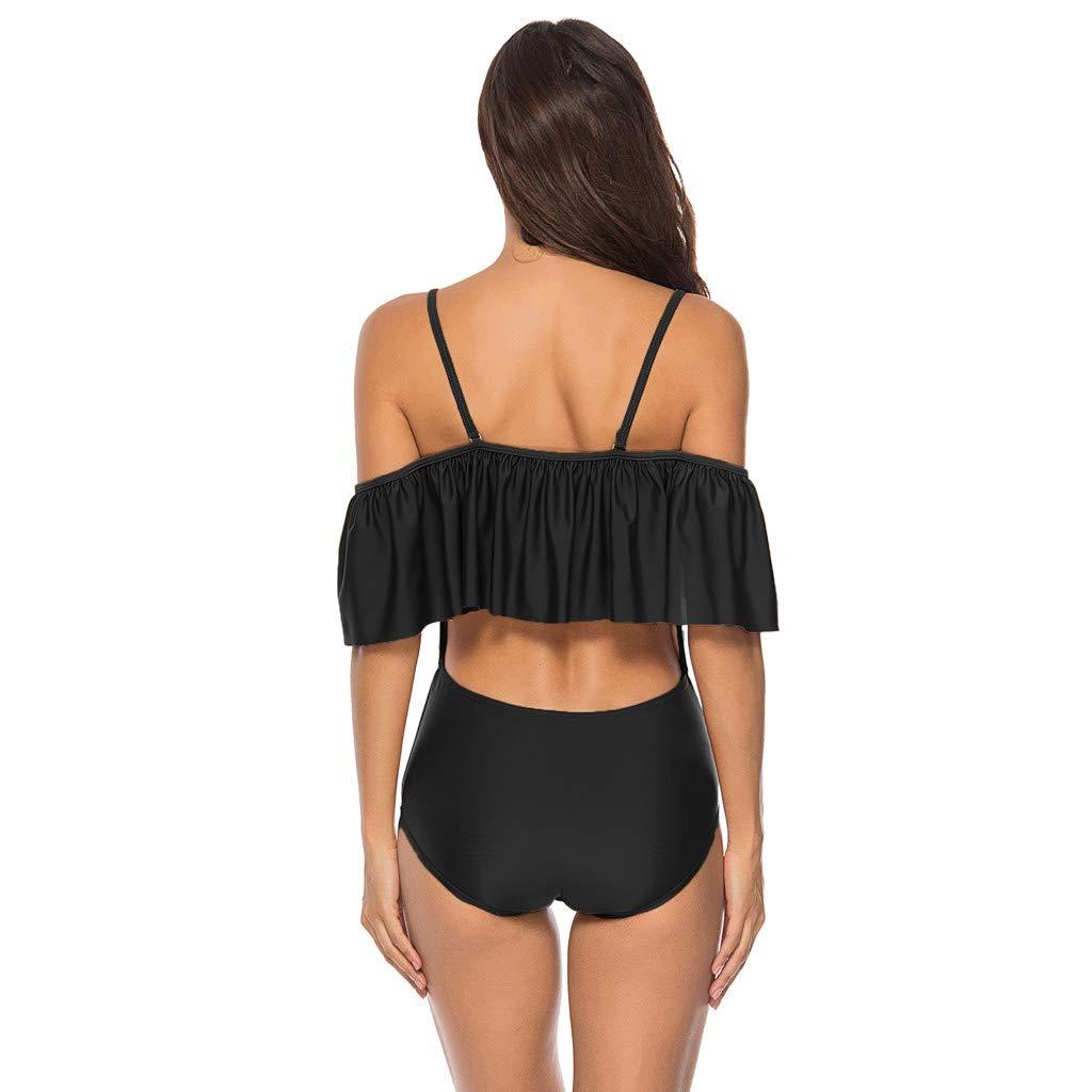 YOUNGSUN Womens Monokini High Waist Cross Strap Swimwear Ruffle Swimsuit Push Up Padded Bikini Bathing Suits Beachwear