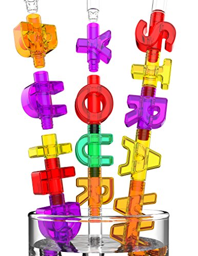 Spelly Straws Reusable Drinking Straws for Kids - Safe BPA Free Plastic Build Your Own Straws and Connectors Kit with 44 Letters and 4 Straw Bases - Fun Colored Educational Kids Toys or Party Favors (Minnie Mouse Motorcycle)
