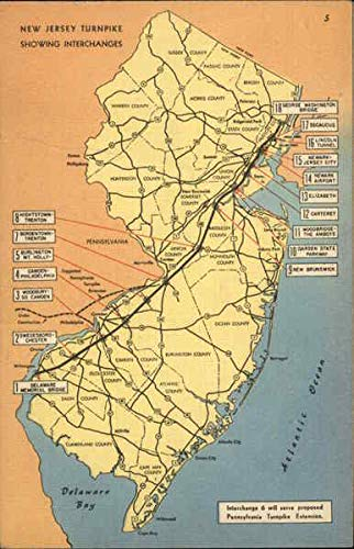 Map of New Jersey Turnpike Maps Original Vintage Postcard