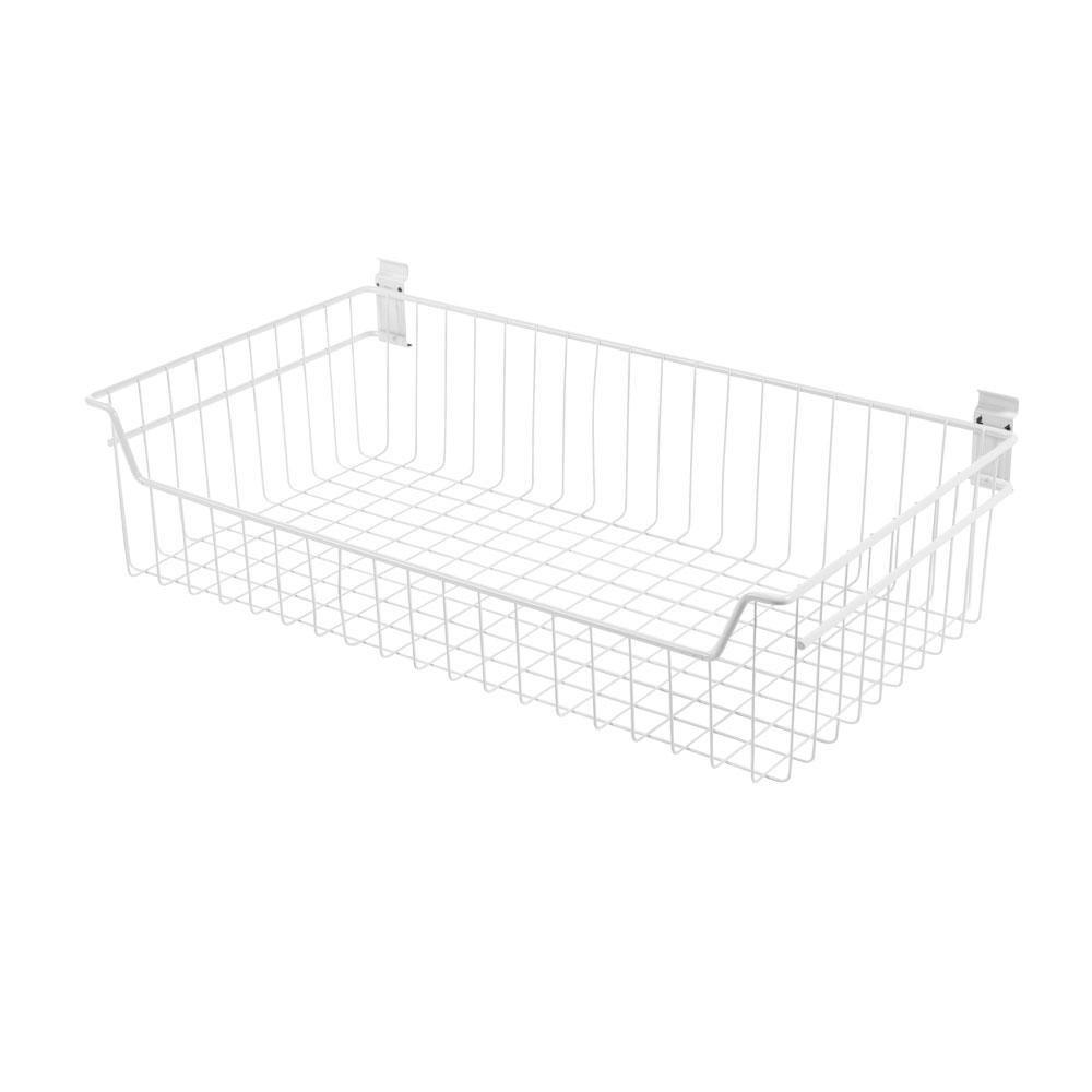 WallTech 8 in. x 27.5 in. White Steel XXL Deep Wire Basket Bracket for Wire Shelving