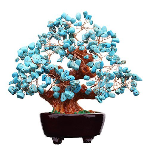 7 Inch Natural Turquoise Gem Stone Money Tree Feng Shui Crystal Quartz for Business Office Home Wealth and Good Luck