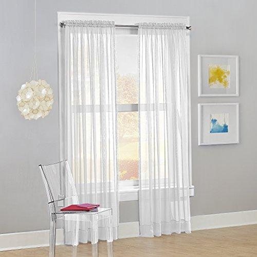 "No. 918 Calypso Sheer Voile Rod Pocket Curtain Panel, 59"" x 84"", White"