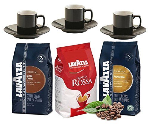 Lavazza 3 Mixed 1kg beans & 3 Espresso Cups Saucers Gift Set