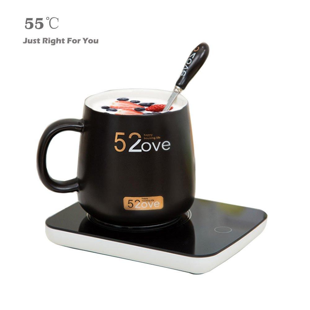 Yumongs coffee mug warmer Auto Shut Off/On Mug Warmer portable for Desk & Office Coffee Accessories with Auto Shut Off Switch for Tea,Water,Cocoa,Soup or Milk((Include 380ML Mug)