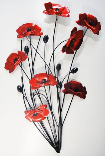 Wall Art - Metal Wall Art Picture - Red Poppy Bunch Black Stems  sc 1 st  Amazon UK & Wall Art - Metal Wall Art Picture - Red Poppy Bunch Black Stems ...