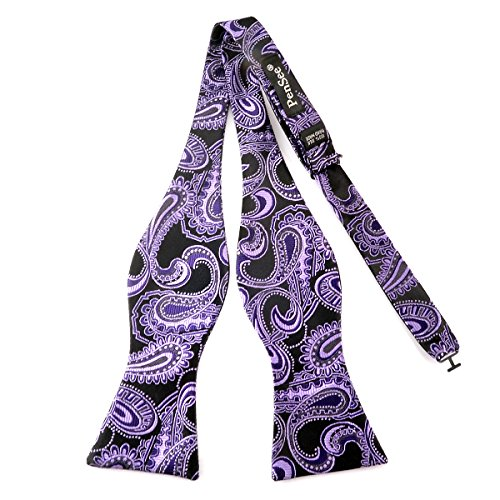 Black / Paisley Purple - Pensee Mens Self Bow Tie Black & Purple Paisley Jacquard Woven Silk Bow Ties