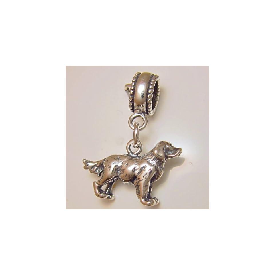 Golden Retriever Dog Sterling Silver Dangle Bead