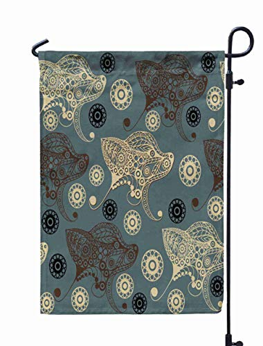 Shorping Welcome Garden Flag, 12x18Inch Abstract Background Earth Dog Hound Symbol Pattern Textile Wallpapers Print Wrapping Scrapbooking for Holiday and Seasonal Double-Sided Printing Yards Flags