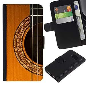 KingStore / Leather Etui en cuir / Samsung Galaxy S6 / Cuerdas de Guitarra Clásica instrumento de música