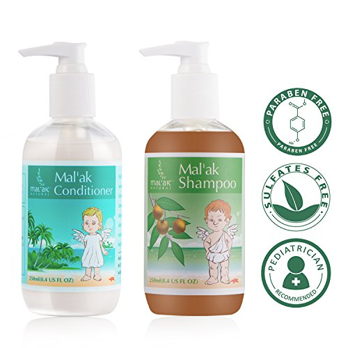 Mal'ak Premium Natural Shampoo and Hair Conditioner for Baby, 2 Pack--8.4 FL OZ for - Kids Ak