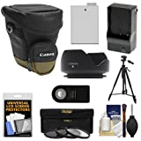 Canon Zoom Pack 1000 Digital SLR Camera Holster Case with LP-E8 Battery & Charger + 3 Filters + Tripod + Remote + Hood + Accessory Kit for Rebel T3i, T4i, T5i