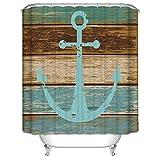Anchor Shower Curtain Nautical Anchor Rustic Wood Pattern Shower Curtain, 71
