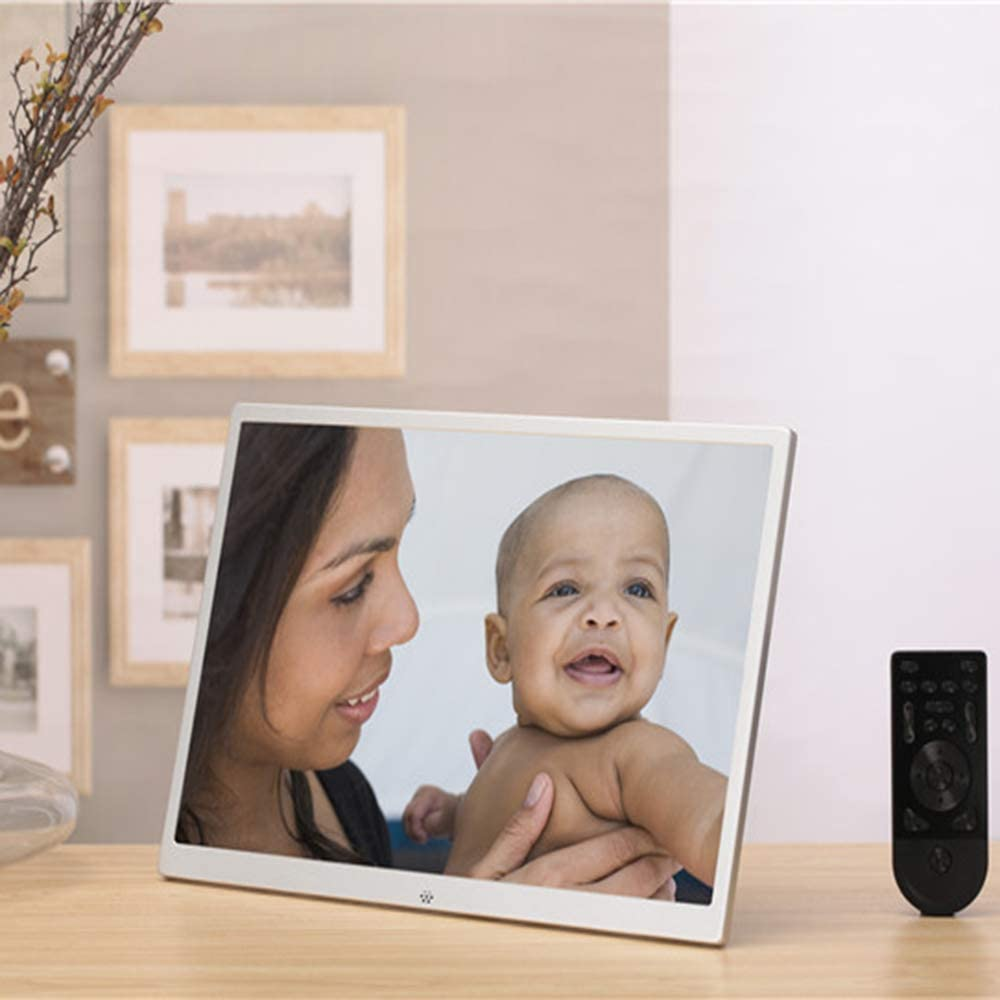 Plug-in Digital Photo Frame QOUP 15.4 Inch Advertising Media Player Video Playback//Automatic Switch Machine Electronic Photo Frame with Remote Control