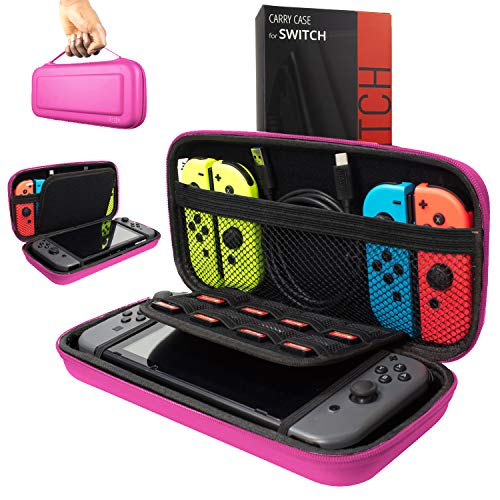 Orzly Carry Case Compatible With Nintendo Switch - PINK Protective Hard Portable Travel Carry Case Shell Pouch for Nintendo Switch Console & ()