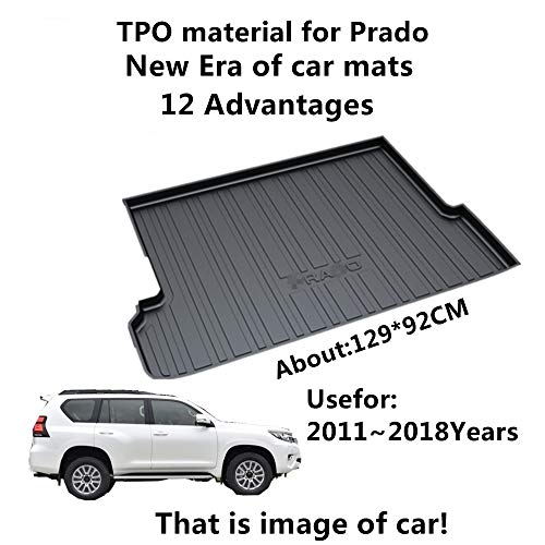 AUNAZZ/Car Mat For TOYOTA PRADO 7seats 2011-2018Years Rubber Rear Trunk Cargo Liner Trunk Tray Floor Mat Cover 1 ()