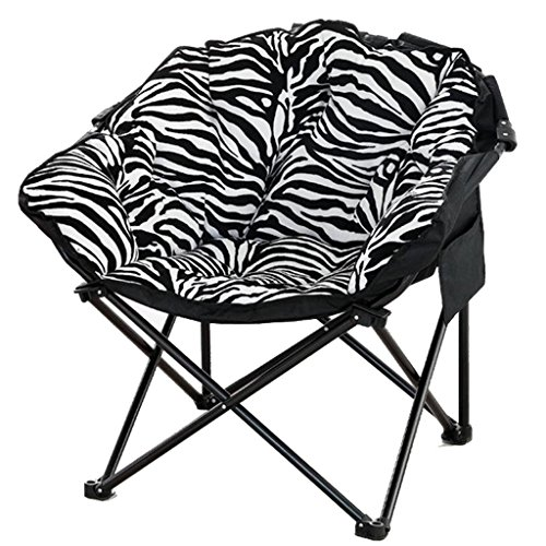 (Black and White Stripes Moon Chair - Creative Lazy Suede Fabric Folding Sun Loungers Washable Single Recliners Sofa Bed Round Chairs with Padded Chair/Zebra Comfortable and Durable)