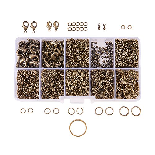 PandaHall Elite 1Box About 1585 Pcs Jewelry Making Findings Kits with Lobster Claw Clasps Twist Chain Links Drop Ends 22 Gauge Open Jump Rings 4~10mm and Jump Ring Open Tool Antique Bronze -