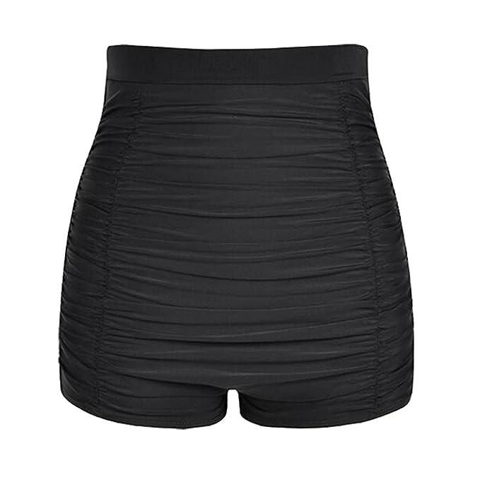 94050fde76abe Womens High Waist Swimming Short Solid Bikini Bottom Boyshorts Beach  Swimwear Trunks Plus Size: Amazon.co.uk: Clothing