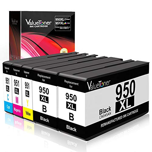 Valuetoner Remanufactured Ink Cartridge Replacement for HP 950XL 951XL 950 XL 951 XL for Officejet Pro 8100 8600 8610 8615 8620 8625 8630 8640 251dw High Yield (Black/Cyan/Magenta/Yellow, 5 Pack) ()