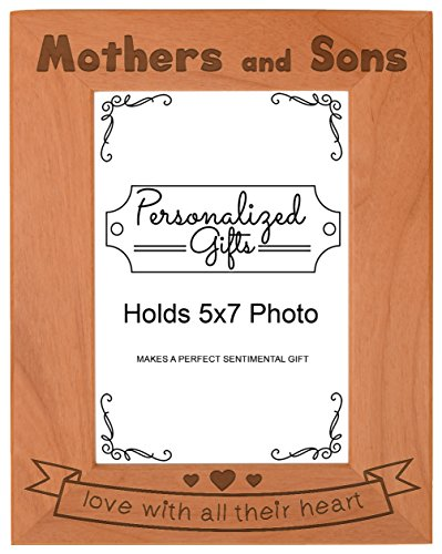 Son Portrait - ThisWear Mom Gift Mothers Sons Love All Heart Natural Wood Engraved 5x7 Portrait Picture Frame Wood