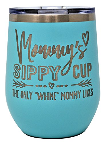 MOMMYS SIPPY CUP WINE GLASS GIFT TUMBLER – Engraved Stainless Steel Stemless Wine Tumbler 12 oz Vacuum Insulated Travel Coffee Mug Hot Cold Drink Mothers Day Christmas Birthday Mom (Pastel (Engraved Christmas Gifts)