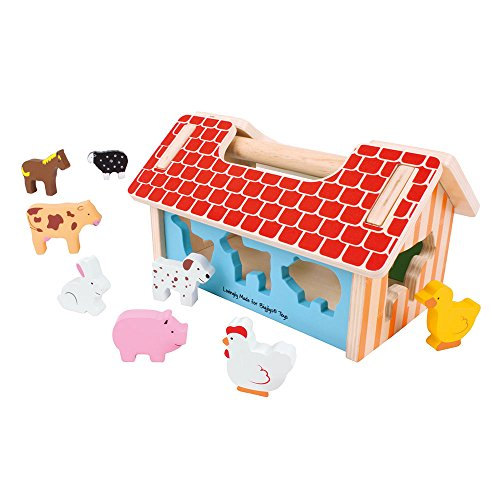 Bigjigs Toys Farm House Shape Sorter - Classic Wooden Toy with 8 Animal Shapes]()