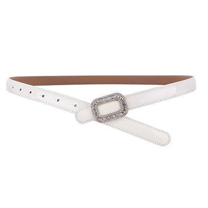 Cinturón de cuero de las mujeres Cinturón de diamantes de imitación Moda Hebilla de cuero de