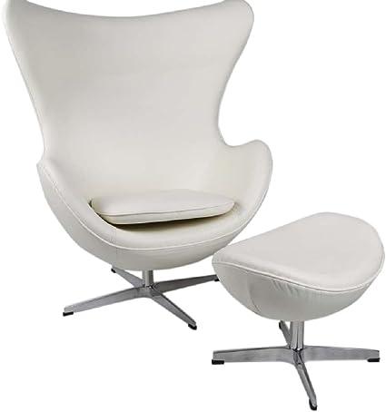 Amazon Com Mlf Arne Jacobsen Egg Chair Ottoman In Top White Cream Aniline Leather Furniture Decor