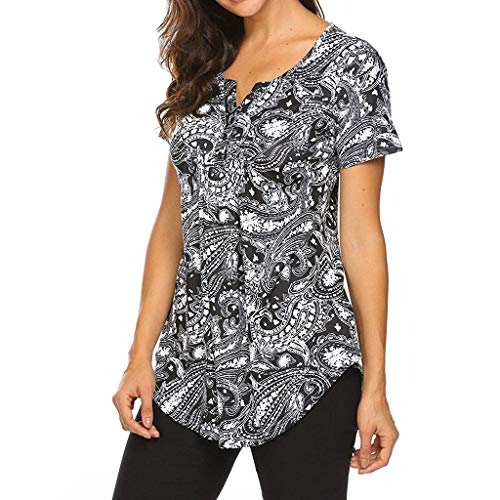 Sunhusing Women's Small Floral Short-Sleeve Button-Tie Printed T-Shirt Top Ladies Leisure Shirt Black