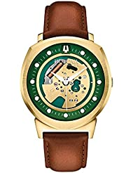 Bulova Accutron II Alpha Collection Mens Gold Skeleton Dial Leather Quartz Watch 97A110