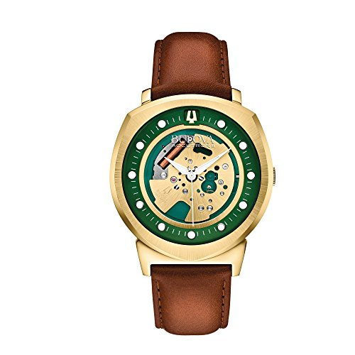 lpha Collection Men's Gold Skeleton Dial Leather Quartz Watch 97A110 (Accutron Band Wrist Watch)
