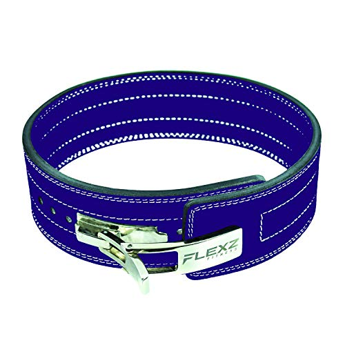 Flexz Fitness Lever Buckle Powerlifting Belt 10mm Weight Lifting Violet X Large