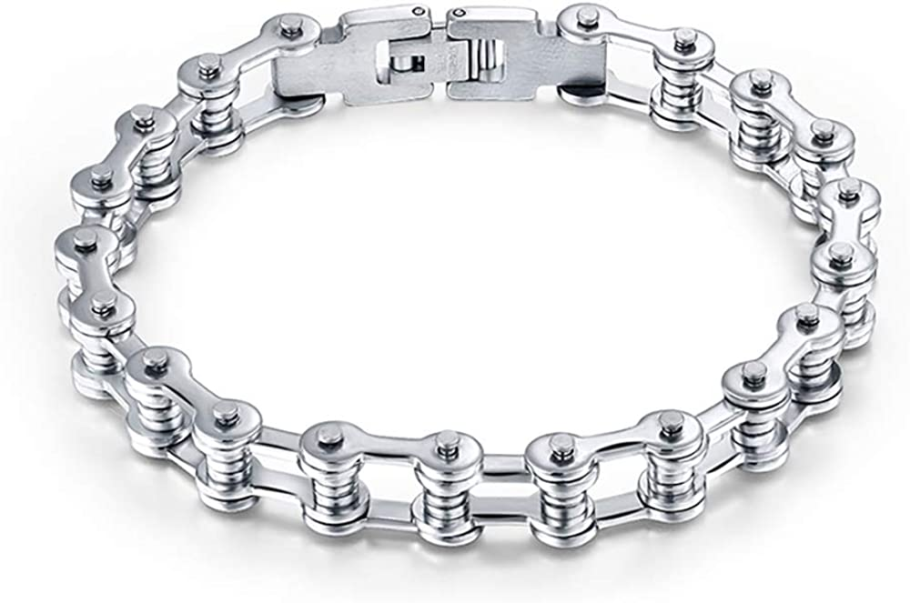 Ginger Lyne Collection Stainless Steel Bike Chain Bracelet Accents
