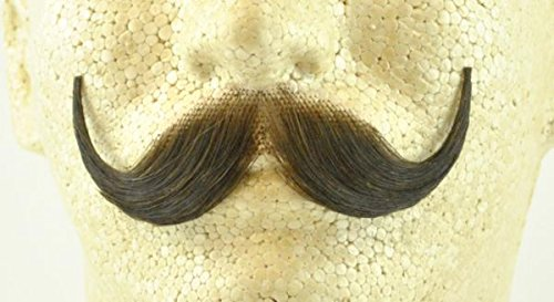 Handlebar Mustache MEDIUM BROWN - 100% Human Hair - no. 2013 - REALISTIC! Perfect for Theater - Reusable!]()