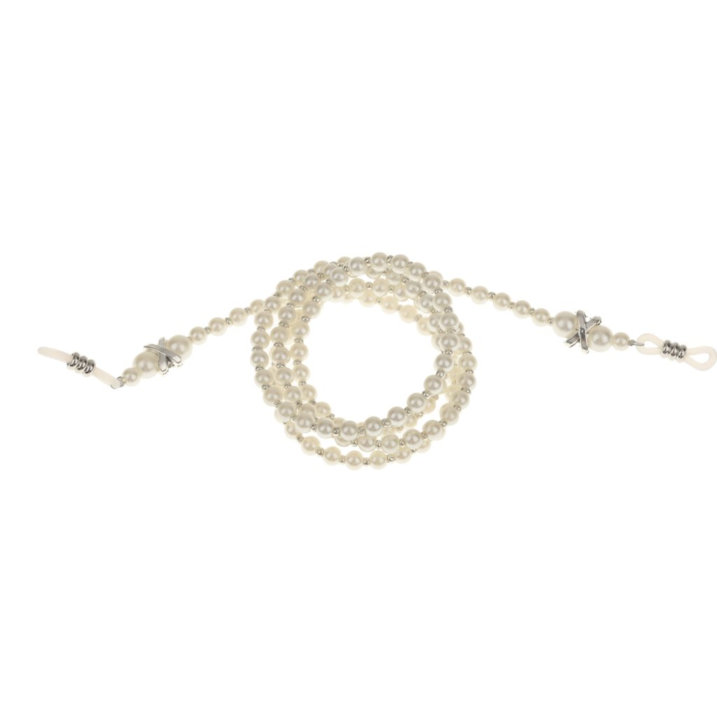 Pearl Beaded Eyeglass Spectacle Reading Glasses Chain Holder Neck Cord Strap