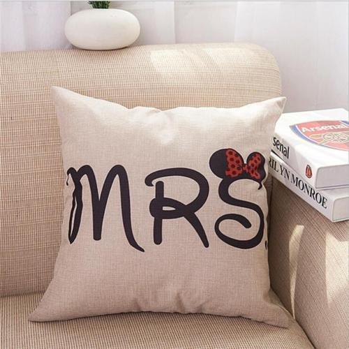 Ángeles -- Cartoon Señor Señora lino y algodón funda de ...