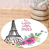 VROSELV Custom carpetEiffel Tower In Love with Paris Quote with Famous French Monument European Retro Artwork for Bedroom Living Room Dorm Multicolor Round 79 inches