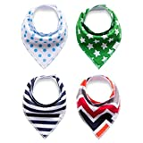 Baby Bandana Drool and Dribble Bibs for Boys and for Girls - (Set of 4, Gift Set) - Best for Babies Drooling, Teething and Feeding (design 8)