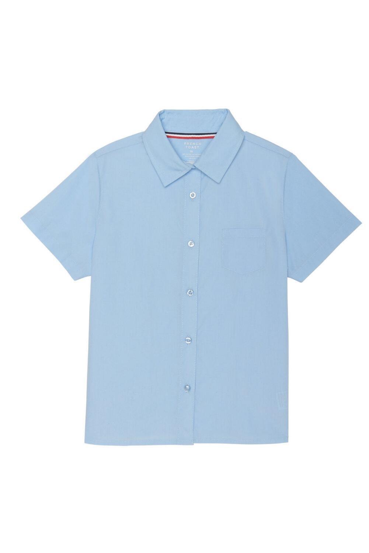 French Toast Big Girls' Short Sleeve Pocket Shirt, Light Blue, 20