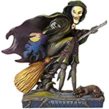 Enesco Jim Shore Heartwood Creek Skeleton Witch Riding Broom