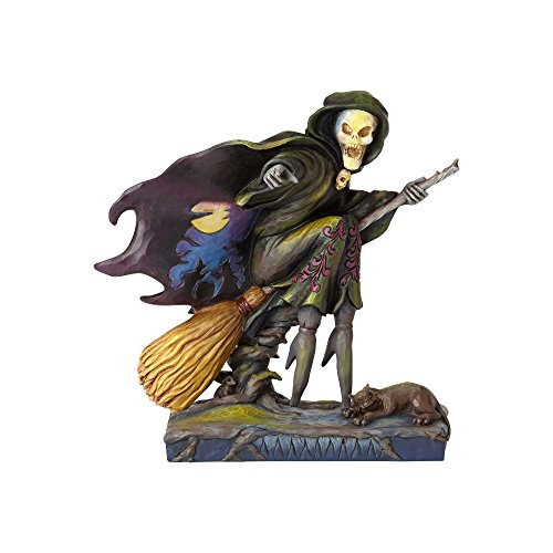 Enesco Jim Shore Heartwood Creek Skeleton Witch Riding Broom -