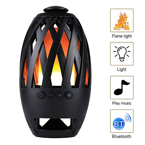 vincilee LED Flame Speaker Wireless Bluetooth Speaker Tiki Torch Lights Flickering Flame Create a Perfect Evening Outdoor Mood Extensible Storage TF Brings You Interesting Outdoor Trips and Parties