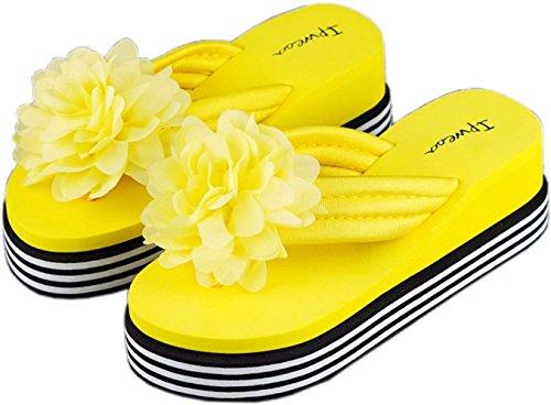 Bettyhome Femmes Bohème Style Grandes Fleurs Coloré Tongs Confortables Désinvoltes Sandales Plage Flip Flops Pantoufles (7 B (m) Us = Eur 38, Bleu)