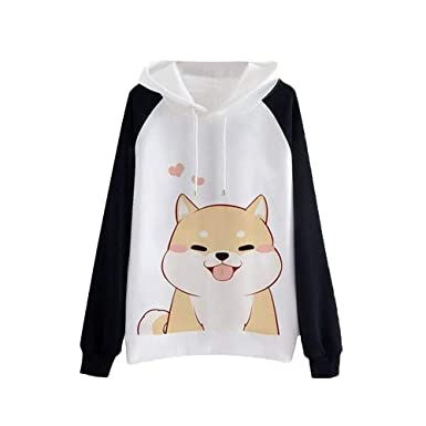 Amazon.com: Snowfoller Long Sleeve Cute Animal Printed Casual Sweatshirts Casual Women O-Neck Jumper Pullover Loose Blouse: Clothing