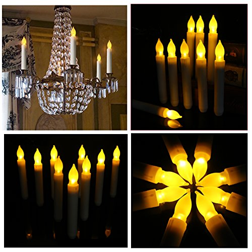 Set of 24 Yellow Mini Battery Operated Wax Dipped White Body LED Taper Candles, Flameless Taper Candles for Wedding, Halloween, Thanksgiving -Batteries Not Included by Youngerbaby by Youngerbaby (Image #4)